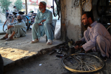 Fixing bicycles, Afghanistan